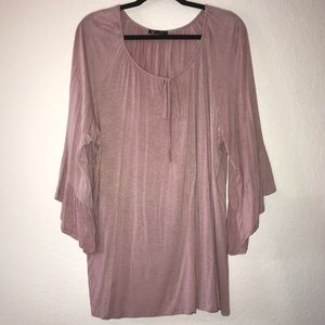 Rose Pink Bell Sleeve Top by Vision USA Sz 2X EUC